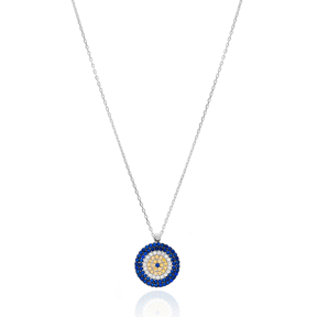Delicate Rounded Evil Eye Charm Silver Pendant Wholesale 925 Sterling Silver Jewelry