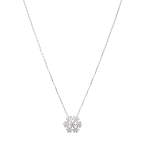 Snowflake Design Turkish Wholesale Handcrafted Silver Zircon Pendant