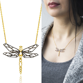 Origami Dragonfly Minimalist Design Sterling Silver Pendant