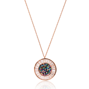 Rainbow Round Pendant In Turkish Wholesale 925 Sterling Silver