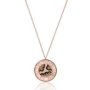 Leopard Round Pendant In Turkish Wholesale 925 Sterling Silver