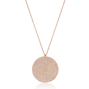 Round Simple Silver Pendant Turkish Wholesale Sterling Silver Jewelry