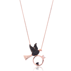 Bird with Ring Design Silver Pendant Turkish Wholesale Sterling Silver Jewelry Pendant