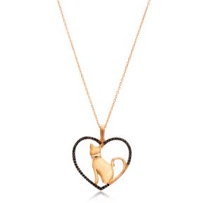 Heart and Cat Design Pendant, Wholesale Handmade Turkish Sterling Silver Pendant