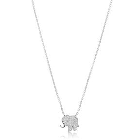 Minimalist Elephant Design Pendant, Wholesale Handmade Turkish Sterling Silver Pendant