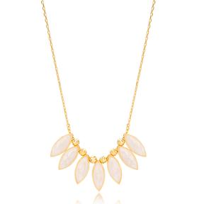 Almond Shape White Enamel Necklace Turkish Handmade 925 Sterling Silver Jewelry
