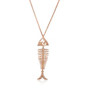 Fishbone Minimal Design Pendant In Turkish Wholesale 925 Sterling Silver