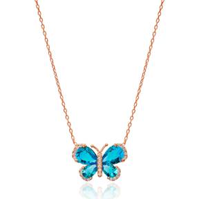 Blue Wing Butterfly Necklace In Turkish Wholesale 925 Sterling Silver Pendant