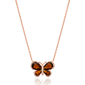 Brown Wing In Butterfly Necklace Turkish Wholesale 925 Sterling Silver Pendant