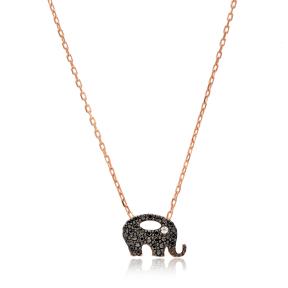Minimalist Elephant Black Zircon Design Pendant Turkish Wholesale Sterling Silver Jewelry Pendant