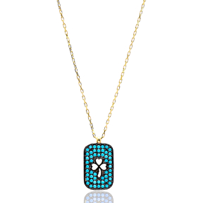 Nano TurquoiseClover Pendant Turkish Wholesale Sterling Silver Jewelry