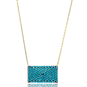 Nano Turquoise Turkish Wholesale Silver Rectangle Pendant