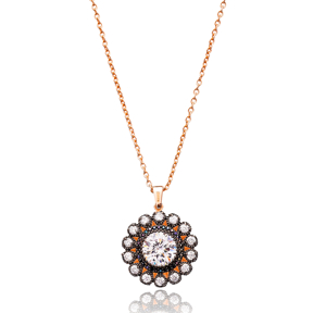 Flower Silver Pendant Turkish Wholesale Sterling Silver Jewelry