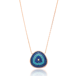 Evil Eye Convex Pendant Turkish Wholesale Sterling Silver Jewelry