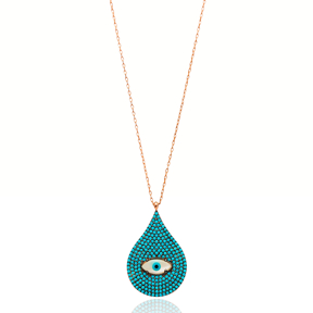 Evil Eye Pear Pendant Turkish Wholesale Sterling Silver Jewelry