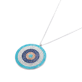 Evil Eye Round Bent Pendant Turkish Wholesale Sterling Silver Jewelry