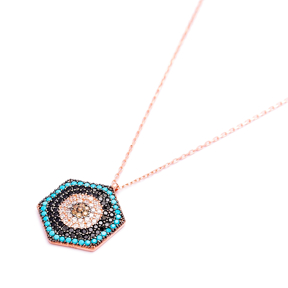 Evil Eye Hexagon Pendant Turkish Wholesale Sterling Silver Jewelry