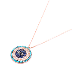 Evil Eye Round Pendant Turkish Wholesale Sterling Silver Jewelry
