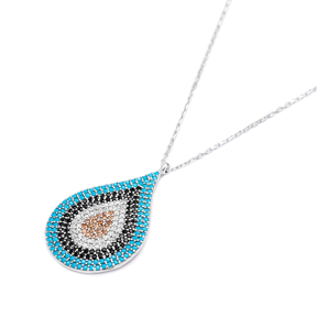 Evil Eye Teardrop Pendant Turkish Wholesale Sterling Silver Jewelry