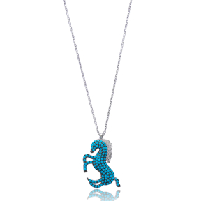Turquoise Horse Pendant In Turkish Wholesale 925 Sterling Silver
