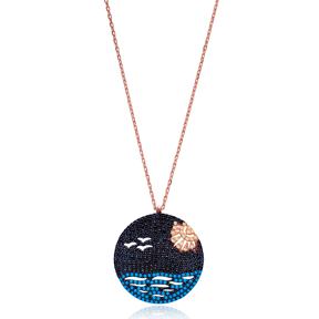 Seaside Round Pendant In Turkish Wholesale 925 Sterling Silver