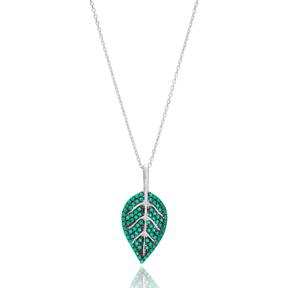 Emerald Leaf Pendant In Turkish Wholesale 925 Sterling Silver