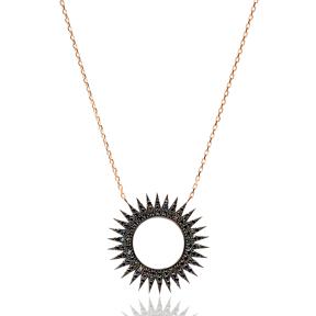 Black Zircon Sun Design Turkish Wholesale Handcrafted 925 Sterling Silver Pendant
