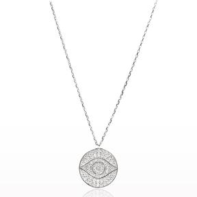 Eye Design Round Pendant Turkish Wholesale Sterling Silver Jewelry