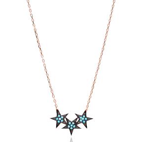 Nano Turquoise Turkish Wholesale Handmade 925 Sterling Silver Jewelry Starts Design Pendant