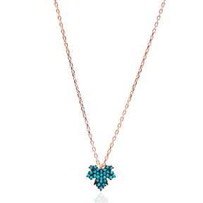 Nano Turquoise Turkish Wholesale Handmade 925 Sterling Silver Jewelry Leaf Design Pendant