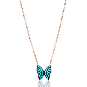 Nano Turquoise Turkish Wholesale Handmade 925 Sterling Silver Jewelry Butterfly Design Pendant
