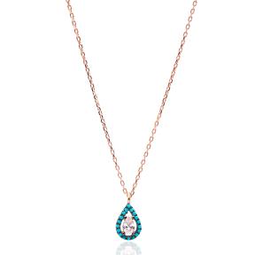 Nano Turquoise Turkish Wholesale Handmade 925 Sterling Silver Jewelry Drop Design Pendant