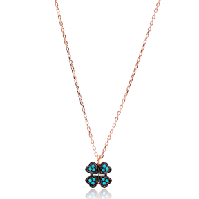 Nano Turquoise Turkish Wholesale Handcrafted 925 Sterling Silver Jewelery Clover Design Pendant