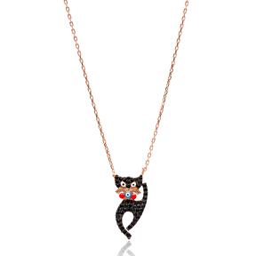 Black Zircon Turkish Wholesale Handcrafted 925 Sterling Silver Cat Design Pendant