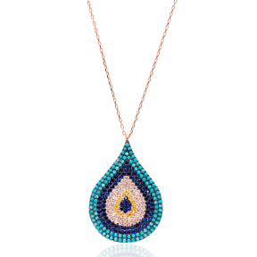 Nano Turquoise Turkish Wholesale Handmade 925 Sterling Silver Drop With Evil Eye Design Pendant