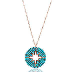 Round Turkish Wholesale Sterling Silver Pole Star Pendant