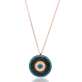 Round Turkish Wholesale Handmade 925 Sterling Silver Jewelry Evil Eye Pendant