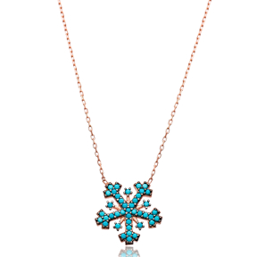 Nano Turquoise Snowflake Design Turkish Wholesale Sterling Silver Pendant