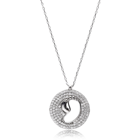 Baby And Mother Foot Pendant Turkish Wholesale Sterling Silver