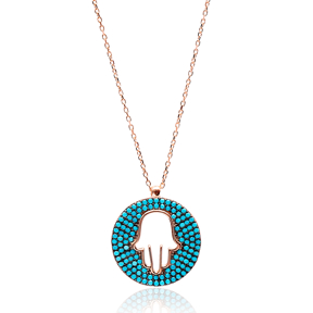 Hamsa Round Turkish Wholesale Sterling Silver Zircon Pendant