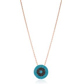 Rounded Nano Turquoise Turkish Wholesale Silver Pendant