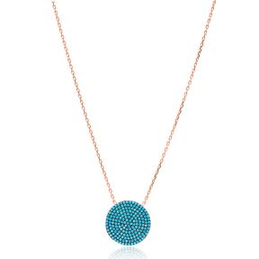 Round Nano Turquoise Turkish Wholesale Silver Pendant