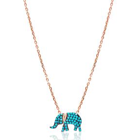Nano Turquoise Elephant Turkish Wholesale Silver Pendant