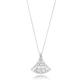 Baguette Cut Stone Silver Pendant Turkish Wholesale Sterling Silver Jewelry