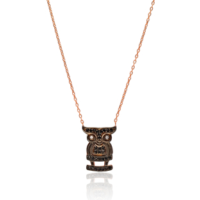 Turkish Wholesale Handcrafted Owl Silver Charm Necklace