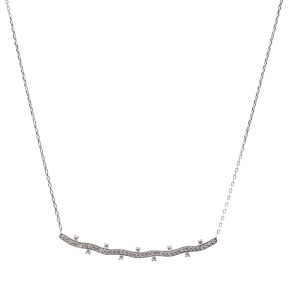 Wave Design Elegant Necklace Wholesale Turkish Handmade 925 Sterling Silver Jewelry