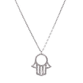 Hamsa Turkish Wholesale Handcrafted Silver Zirconia Hamsa Pendant