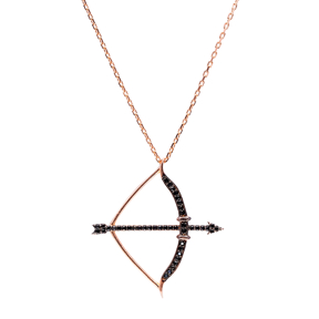 Bow and Arrow Black Zirconia Turkish Wholesale Handcrafted Silver Pendant