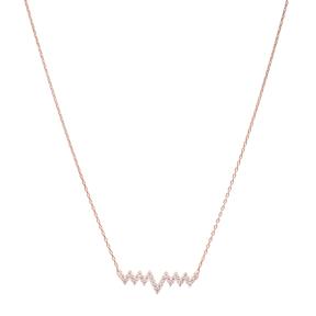 Turkish Wholesale Handcrafted Silver Zirconia Zigzag Pendant