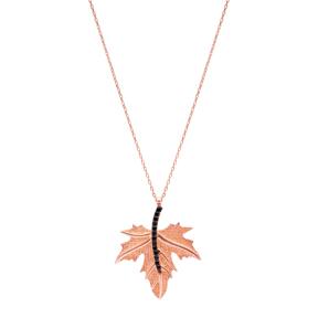Turkish Wholesale Handcrafted Silver Zirconia Leaf Pendant